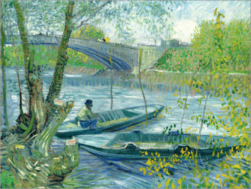 Premiumposter Angler and boat at the Pont de Clichy