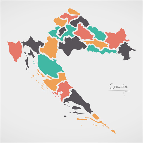 Självhäftande poster Croatia map modern abstract with round shapes