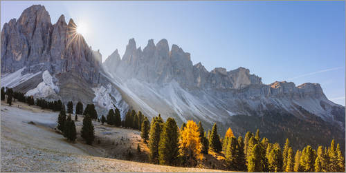 Premiumposter Odle group at sunrise, South Tyrol, Italy