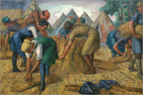 Premiumposter Farm workers in a flax field