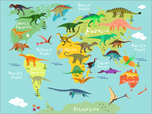 Premiumposter Dinosaur Worldmap