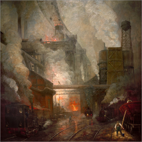 Premiumposter Blast furnace tapping in Hörde