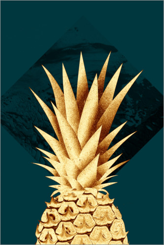 Premiumposter Pineapple on a green background