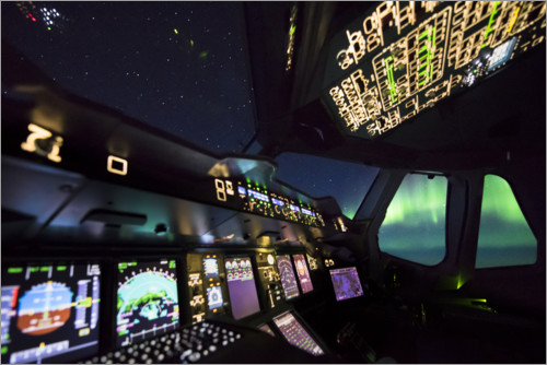 Premiumposter Airbus A380 cockpit with polar lights