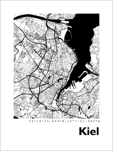 Premiumposter City map of Kiel