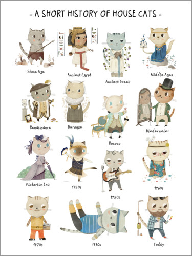 Poster A Short History of Domestic Cats (English)
