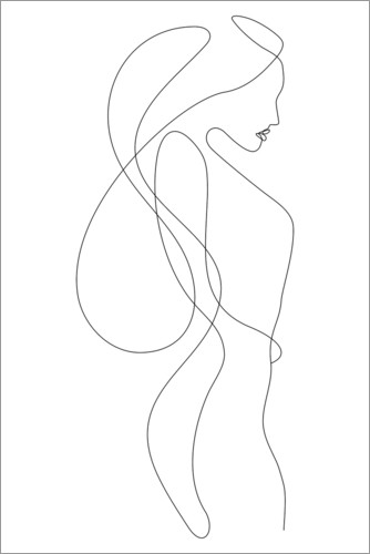 Premiumposter Lady with long hair - lineart