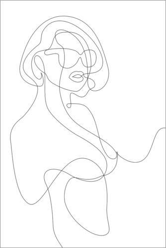 Premiumposter Woman with sunglasses - lineart
