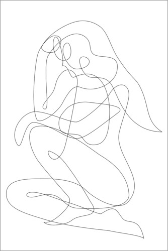 Premiumposter Thinking woman - lineart