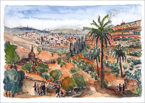 Premiumposter View into the Kidron Valley, Jerusalem