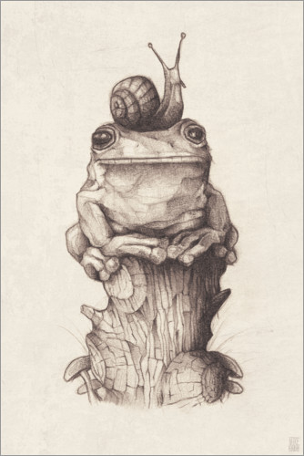 Premiumposter The frog and the snail, vintage
