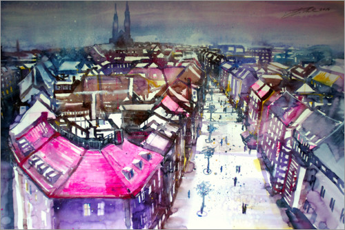 Premiumposter View into the wide street in Nuremberg