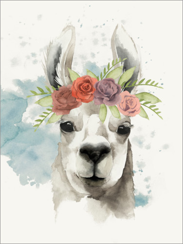 Premiumposter Lama with flower crown I