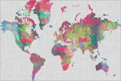 Premiumposter Artistical Map of the World