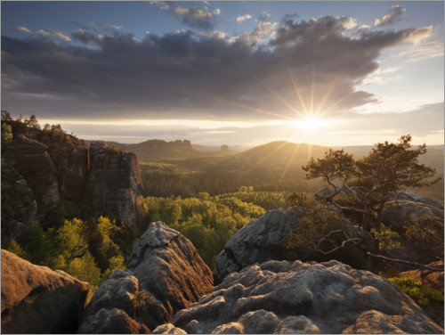 Premiumposter Sunset in the Elbe Sandstone Mountains