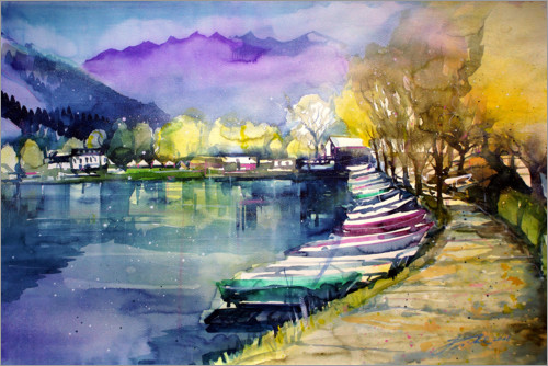 Premiumposter Fishing boats in autumn, Zell am See