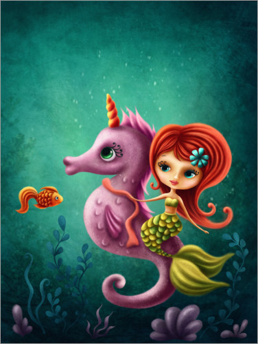 Premiumposter Mermaid with a seahorse