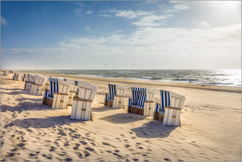 Premiumposter Beach chairs in the sunset, Sylt