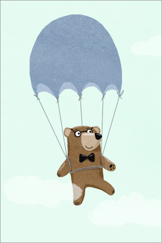 Premiumposter Bear with parachute
