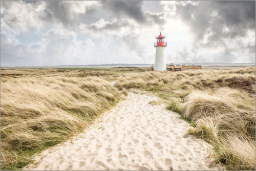 Premiumposter Sand path to the lighthouse List-West on Sylt