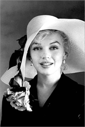Premiumposter Marilyn Monroe with white hat