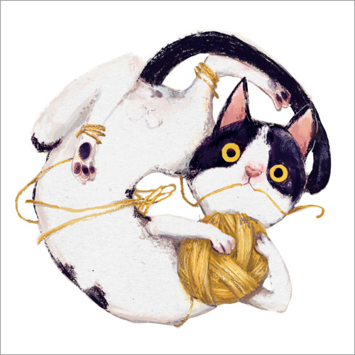 Premiumposter Cat with ball of wool