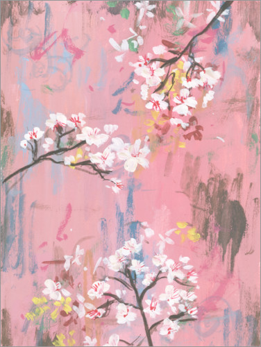 Premiumposter Cherry blossoms on pink