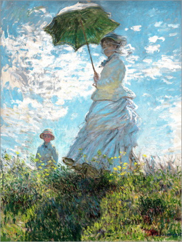 Premiumposter Woman with a parasol - Madame Monet and her son