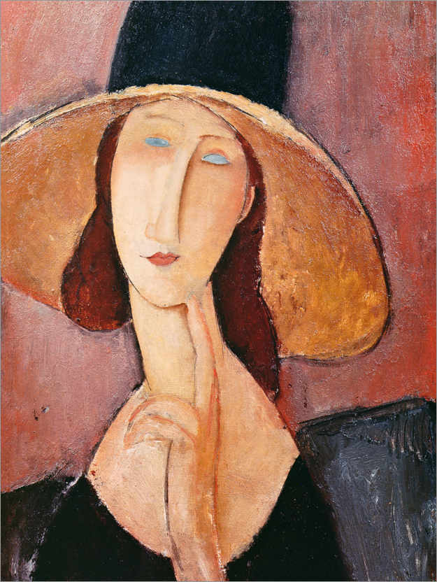 Premiumposter Jeanne Hebuterne in a large hat