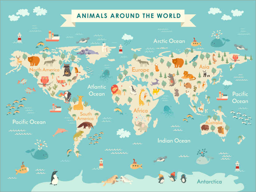 Premiumposter World map with animals (English)