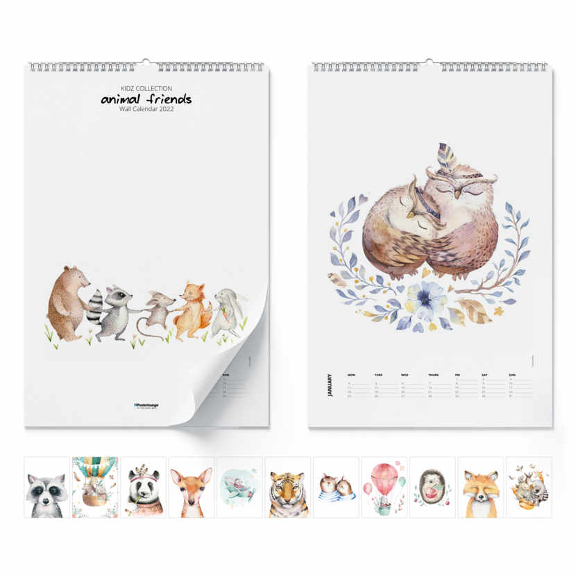 Väggkalender Animal Friends 2021