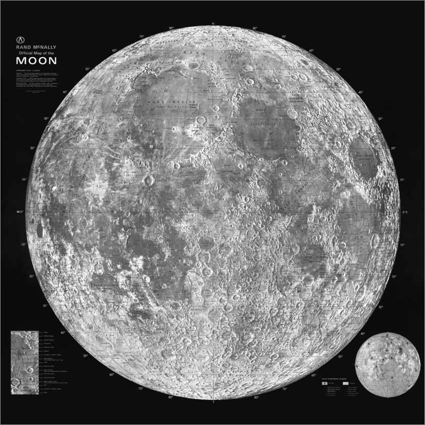 Premiumposter Moon map, black and white
