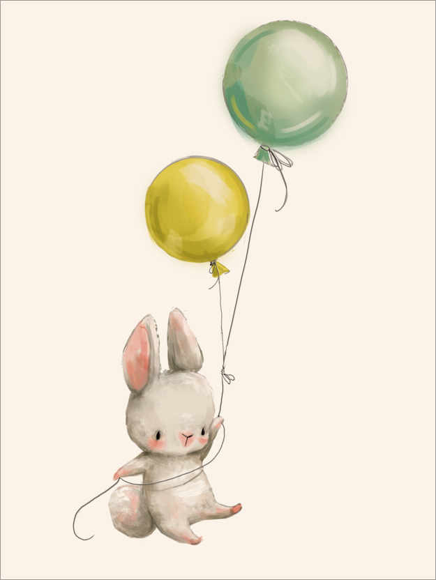 Premiumposter Bunny with balloons