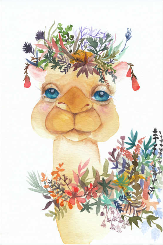 Premiumposter Camel with flowers