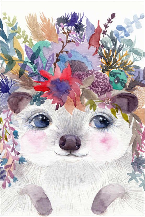 Premiumposter Hedgehog with flowers