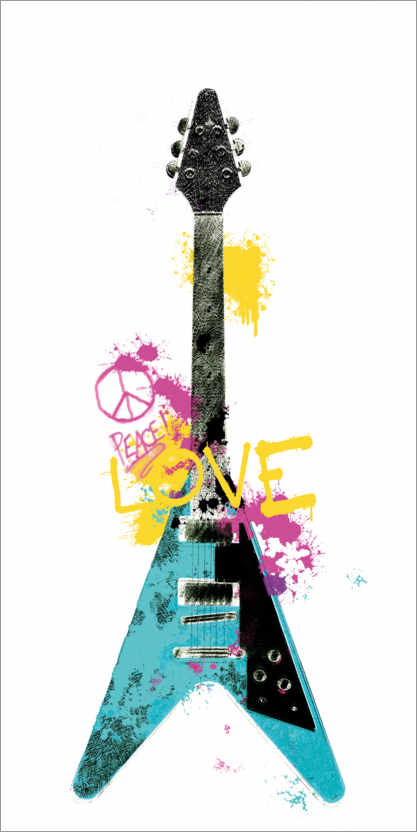 Premiumposter Guitar III graffiti