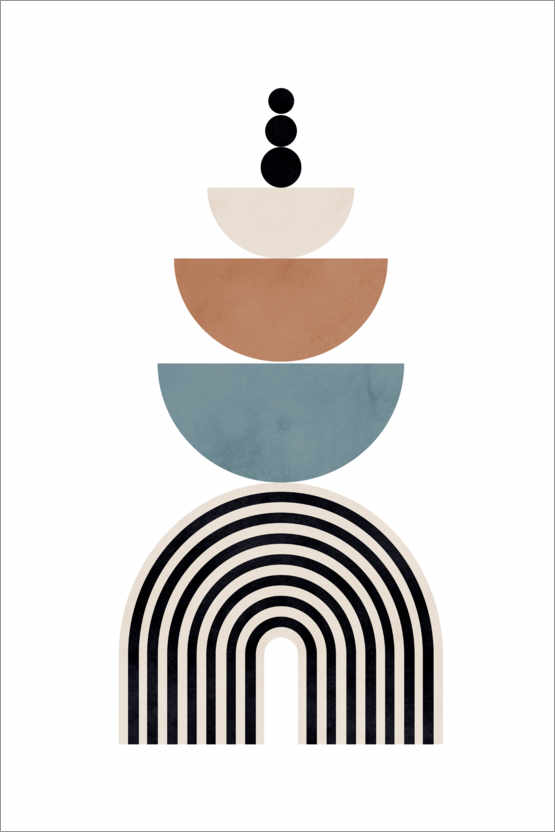 Premiumposter Mid century abstract shapes