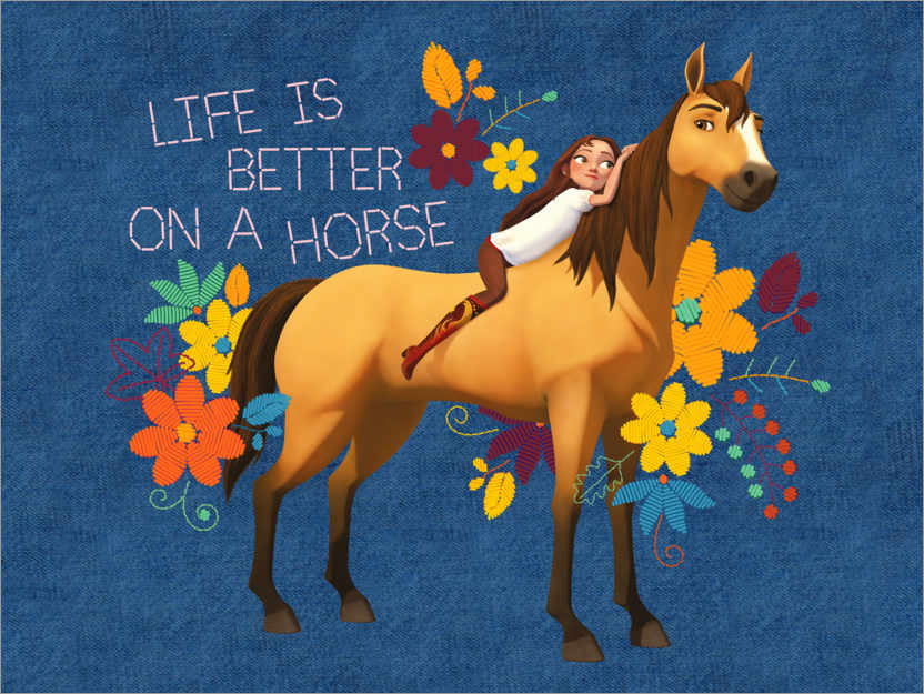 Premiumposter Life is better on a horse