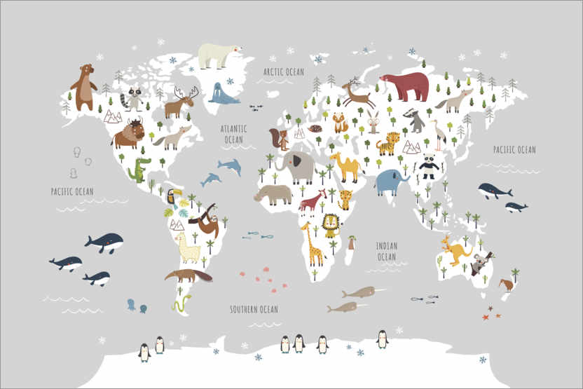 Premiumposter World map with animals (grey)