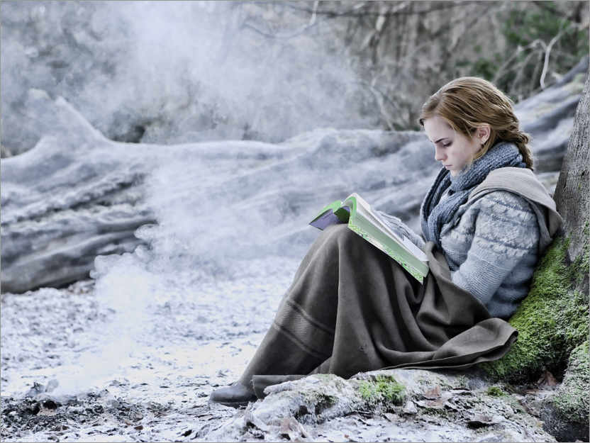 Premiumposter The Deathly Hallows I - Hermione with her book