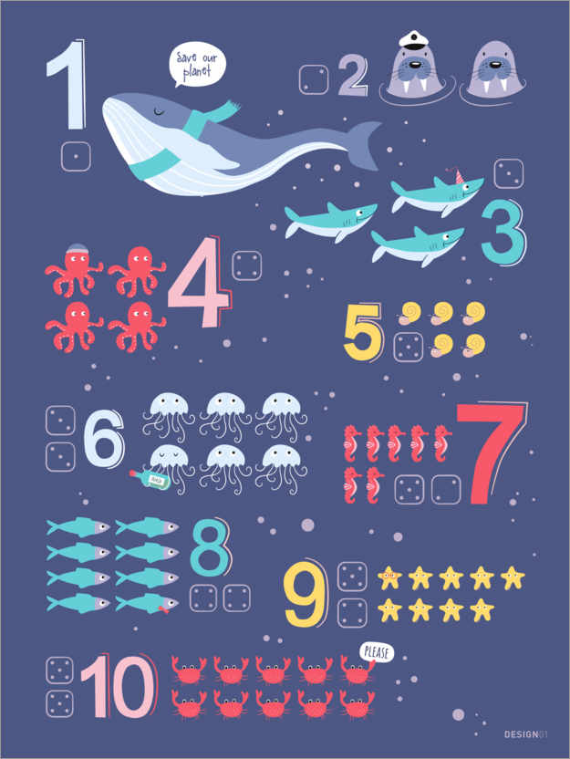 Premiumposter Counting numbers with marine animals