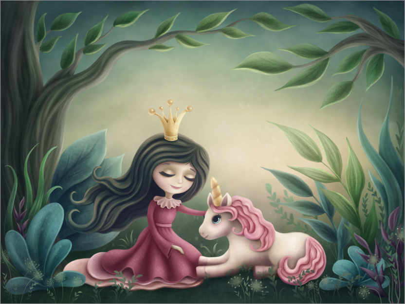 Premiumposter Princess with unicorn in the magic forest