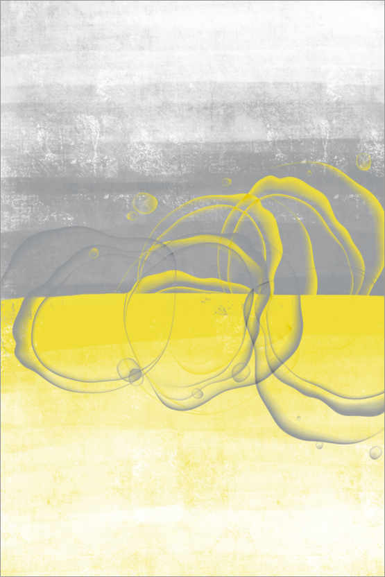 Premiumposter Lemons yellow-gray