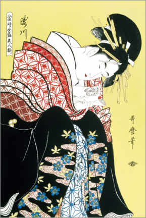 Trätavla  Takigawa from the tea house - Kitagawa Utamaro