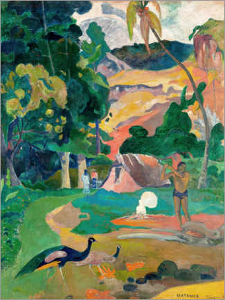 Aluminiumtavla  Landscape with peacocks - Paul Gauguin