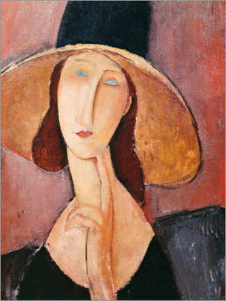 Canvastavla  Jeanne Hebuterne in a large hat - Amedeo Modigliani