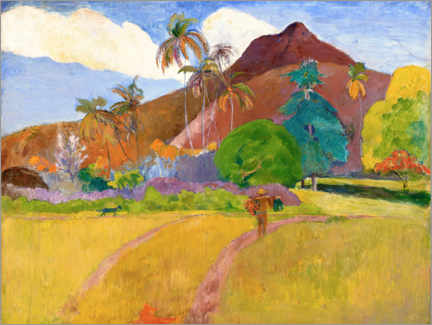 Premiumposter  Tahitian landscape with mountains - Paul Gauguin