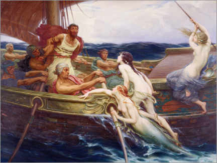 Canvastavla  Ulysses and the Sirens - Herbert James Draper