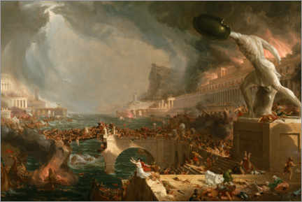 Aluminiumtavla  The Course of Empire - Destruction - Thomas Cole