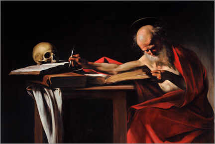 Canvastavla  Saint Gerome Writing - Michelangelo Merisi (Caravaggio)